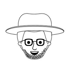 male face with hat and glasses and short hair and vector image