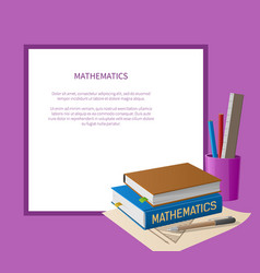 Mathematics poster with white frame place for text vector