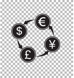 Money exchange transparent money convert sign vector