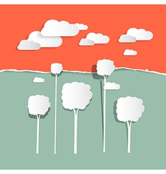 Paper Clouds and Trees - Nature vector image vector image