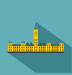 Parliament hill ottawa icon flat style vector