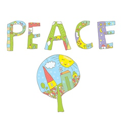Peace word design with tree flowers birds vector