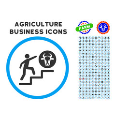 Person climbing to cow rounded icon with set vector