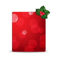 Red blank gift tag and holly berry vector