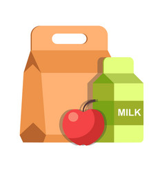 School lunch meal box breakfast container and milk vector