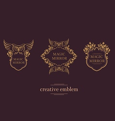 Set creative emblem of the magic mirror with an ow vector