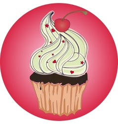 tasty cupcake with cherry on pink background vector image vector image