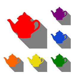 tea maker sign set of red orange yellow green vector image
