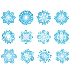 Twelve Circle Snowflakes vector image