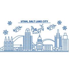 usa utah salt lake city winter city skyline vector image
