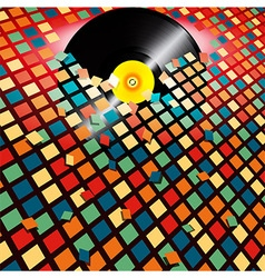 Vinyl record breaking coloured tiles background vector