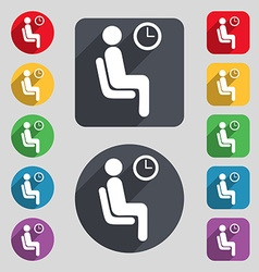 waiting icon sign A set of 12 colored buttons and vector image