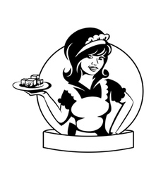 Waitress with a dish vector