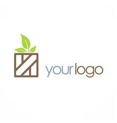 wood box organic leaf logo vector image