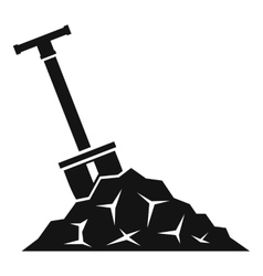Shovel in coal icon simple style vector