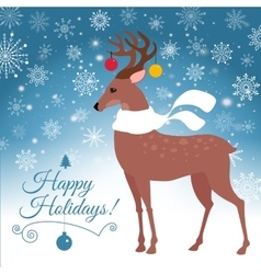 Happy holidays lettering greeting card with deer vector