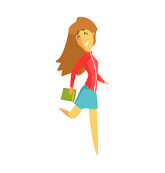 Cheerful student girl jumping and holding a book vector