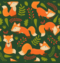 Seamless pattern fox on green background vector