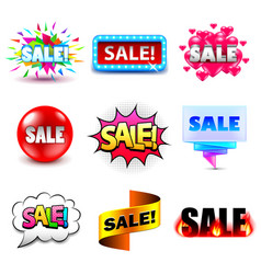 Sale design titles icons set vector