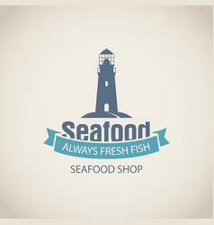Banner for seafood shop with lighthouse and words vector