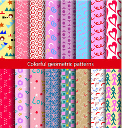 16 set pattern 80s background vector