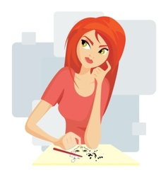 Pretty girl painting vector