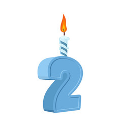 2 years birthday number with festive candle for vector
