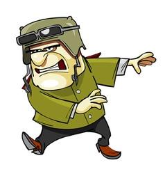 Cartoon furious man in a helmet vector