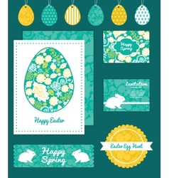 Emerald flowerals set of easter cards vector