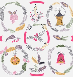 Set of christmas and new year wreath and other vector