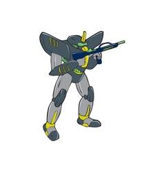 Mecha Robot Holding Ray Gun Isolated vector image