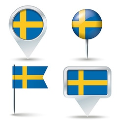 Map pins with flag of sweden vector