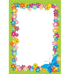 butterfly flowers frame vector image