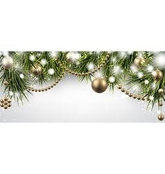 Christmas banner with spruce twigs vector