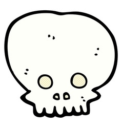 Comic cartoon spooky skull symbol vector