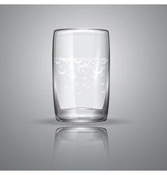 Glass with transparent liquid and bubbles vector
