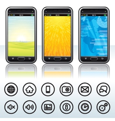 Smartphone with contour icons vector