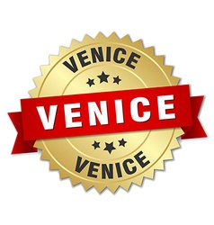 Venice round golden badge with red ribbon vector