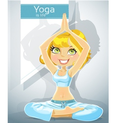cute blonde in a yoga position 2 from a set vector image