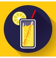 Glass of juice with lemon icon flat 20 design vector