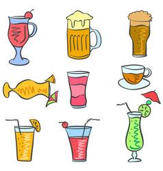 Art drink set doodles vector