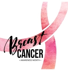 Breast cancer card awareness month ribbon vector