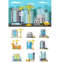 Building Houses Orthogonal Concept vector image vector image