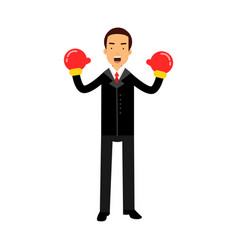 businessman character in boxing gloves celebrating vector image