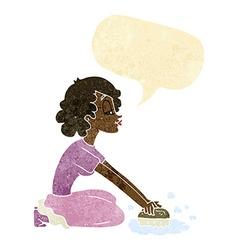 cartoon woman scrubbing floor with speech bubble vector image