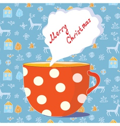 Christmas tea cup vector