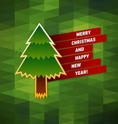 Christmas tree bright greeting card vector