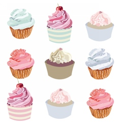 Cupcakes set collection vector image vector image