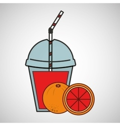 delicious juice fruit orange and cup cover straw vector image