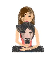 Drawing woman embracing man realtionship vector
